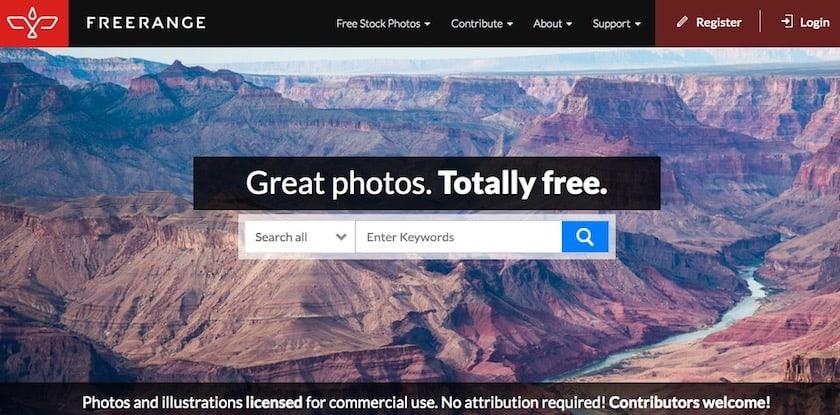 Lizenzfreie Bilder kostenlos - freerange website
