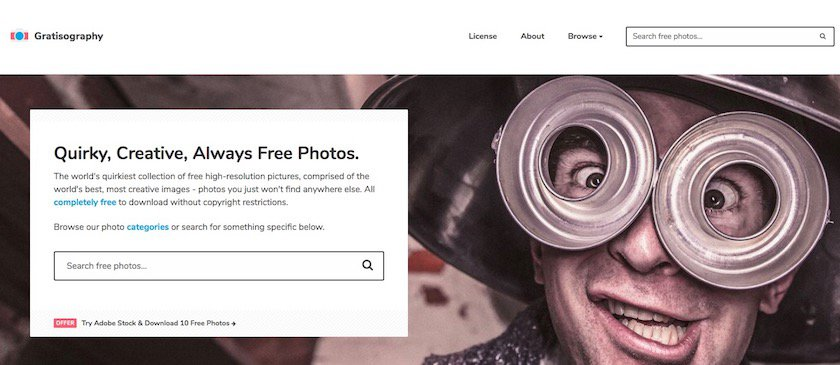 Lizenzfreie Bilder kostenlos - gratisography website