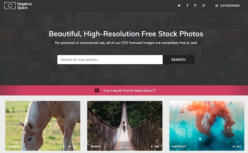 Lizenzfreie Bilder kostenlos - negativespace website