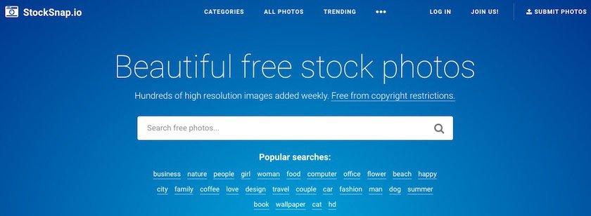 Lizenzfreie Bilder kostenlos - stocksnap.io website