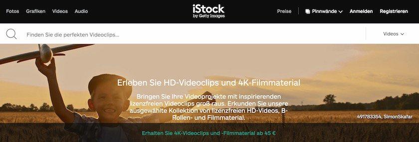iStock Videos Webseite